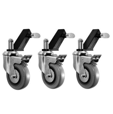 Wheels for combo stands (set of 3 wheels & slip on adapters)